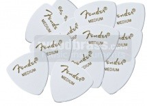 Fender Pack De 12 Mediators Forme 346 Blancs Moyen Medium