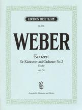 Weber C.m.v. - Concerto Pour Clarinette N°2 Mi B Majeur Op. 74 - Clarinette, Piano