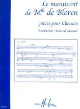 Manuscrit De Melle De Bloren - Clavecin