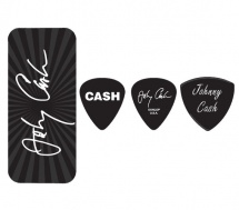 Dunlop Jcpt03m Boite En Metal De 6 Mediators Motif Johnny Cash Signature