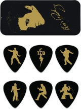 Dunlop Eppt04 Boite En Metal De 6 Mediators Motif Elvis Presley Portrait
