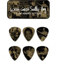 Dunlop Jh-pt10h Boite En Metal De 6 Mediators Motif Jimi Hendrix West Coast Boy