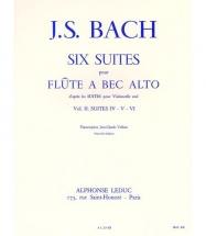 Bach J.s. Six Suites Pour Flûte à Bec Alto Vol 2 Suite Iv. V. Vi