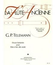 Telemann G. Ph. - 12 Fantaisies - Flute A Bec Alto Seule