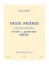 Langlais Jean - Trois Prieres - Voix and Piano