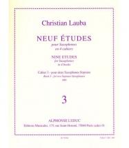 Lauba Christian - Neuf Etudes Pour Saxophone - Cahier 3