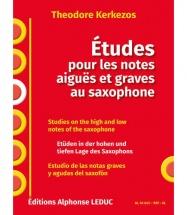 Kerkezos Theodore - Etudes Pour Les Notes Aiguës Et Graves Au Saxophone