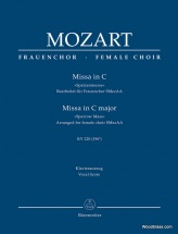 Mozart W.a. - Missa In C Major Kv 220 (196b) Sparrow Mass - Arranged For Female Choir Smezaa - Voc
