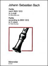 Bach J.s. - Partita Nach Bwv 1013 In C-moll (do Mineur) - Flute A Bec Alto