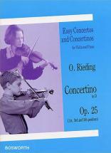 Rieding Oscar - Concertino Op.25 En Re Majeur - Violon, Piano