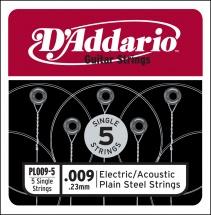 D\'addario Pl009-5 Pack 5 Cordes Unite Acier Plein 009