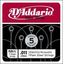 D\'addario Pl011-5 Pack 5 Cordes Unite Acier Plein 011