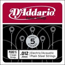D\'addario Pl012-5 Pack 5 Cordes Unite Acier Plein 012