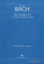 Bach Heinrich - Zwei Sonaten à 5 Für 5 Streicher Und Basso Continuo
