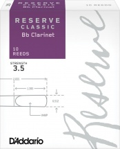 D\'addario Woodwinds Anches Reserve Classic Clarinette Si Bemol Force 3.5 Pack De 10