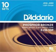 D\'addario Ej16-10p Pack 10 Jeux Light 12-53 Phosphore Bronze