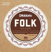 D\'addario And Co Cordes Pour Guitare Folk Ej32c Nylon Extremite A Boule Filet Argent/aiguës En Nylon Transparent