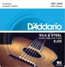 D\'addario And Co Cordes En Soie Et Acier Pour Guitare Folk 12 Cordes Ej35 11-47