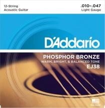 D\'addario Ej 38 Phosphor Bronze Light (12 Cordes)