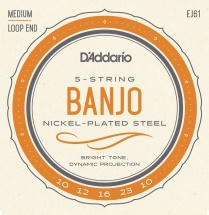 D\'addario And Co Ej61 Jeu De Cordes En Nickel Pour Banjo 5 Cordes 10-23 Medium