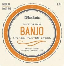 D\'addario And Co Ej61 Jeu De Cordes En Nickel Pour Banjo 5 Cordes 10-23 Medium