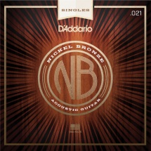 D\'addario And Co Corde Seule Pour Guitare Acoustique Nb021 Filet Nickel Bronze .021