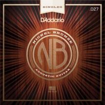 D\'addario And Co Corde Seule Pour Guitare Acoustique Nb027 Filet Nickel Bronze .027