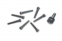 D\'addario And Co Injected Molded Bridge Pins With End Pin Set Of 7 Black