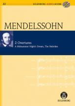 Mendelssohn Felix - 2 Overtures Op.21 / Op.26 + Cd - Study Score