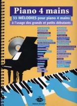Piano 4 Mains + Cd, 33 Melodies A L