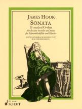 Hook James - Sonata G Major - Soprano Recorder (treble Pipe Or Violin) And Piano