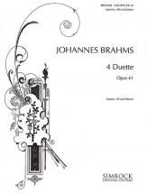 Brahms Johannes - 4 Duets Op. 61 - Soprano, Alto And Piano
