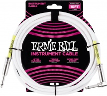 Ernie Ball Cables Instrument Classic Jack/jack Coude 3m Blanc