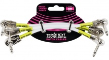 Ernie Ball Cables Instrument Patch Pack De 3 Coude Fin 15cm Blanc