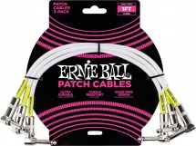 Ernie Ball Cables Instrument Patch Pack De 3 Coude 30cm Blanc