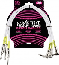 Ernie Ball Cables Instrument Patch Pack De 3 Droit/coude 46cm Blanc