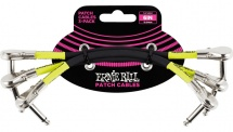 Ernie Ball Cables Instrument Patch Pack De 3 Coude Fin 15cm Noir