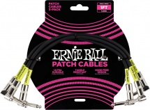 Ernie Ball Cables Instrument Patch Pack De 3 Coude 30cm Noir