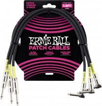 Ernie Ball Cables Instrument Patch Pack De 3 Droit/coude 46cm Noir