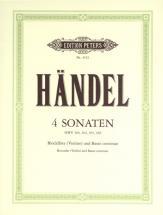 Handel George Friederich - 4 Sonatas - Recorder