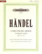 Handel George Friederich - 9 German Arias Hwv 202-210 - Voice And Piano (par 10 Minimum)