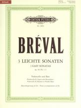 Breval Jean-baptiste Sebastien - 3 Easy Sonatas Op.40 Nos.1-3 - Cello(s) And Other Instruments