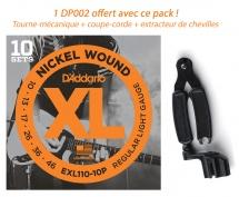 D\'addario Pack 10 Jeux Electrique Exl 110 Light 10-46 Avec Pro Winder Offert