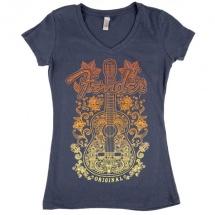 Fender Ladies Floral Acoustic T-shirt Femme Gray Xl