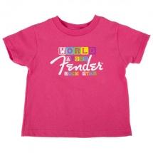 Fender World Famous Rock Star - T-shirt Enfant - Rose - 7 Ans