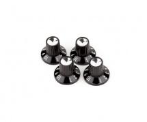 Fender Black/silver Skirted (1-10) Push-on Amplifier Knobs, Black (jeu De 4 Cordes)