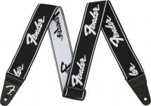 Fender  Weighless 2 Running Logo Strap, Black/white