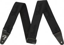 Fender  Weighless 2 Running Logo Strap, Black/black