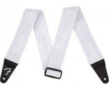 Fender  Weighless 2 Running Logo Strap, White/white