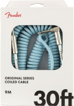 Fender Original Series Coil Cable Straight-angle 30\' Daphne Blue